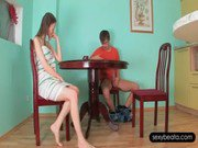 Bitchy Beata sucking her BFs loaded cock on the table