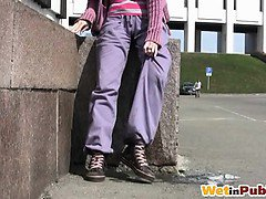Gal wets her purple sweatpants in public