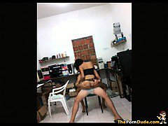 Horny Latina Teen Fucks Her BF On A Chair