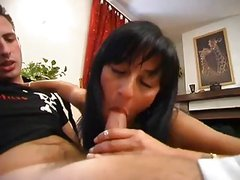Floppy Breasted Italian Cutie Lifts Her Leg To Get Boned