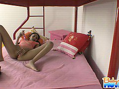 Babysitter Alexis is caught dildoing herself on my kids bed