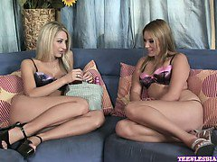 Kelly Skyline and Sammie Rhodes are horny blondes, who are