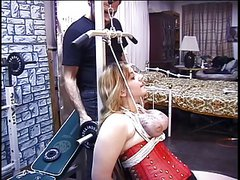 Male dom tied titty's, clamps