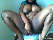 Huge titted ebony bbw Pocahon squirts her fat black pussy