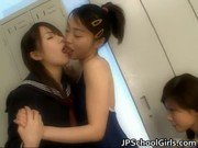 Japanese schoolgirls kissing and tongue sucking