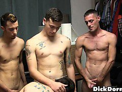 Hot frat studs blow and jerk each other off.