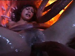 Sexy asian girl with nice asian tits is pounded by tentacles