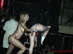 Check this out, girls get crazy at a club and flash their