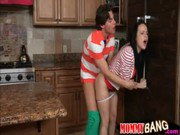 Huge boobs milf Kendra Lust caught teen couple banging