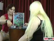 Two chubby lesbians play a high risk game of Strip