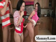 Kendra Lust and Katie StIves share cock in the kitchen
