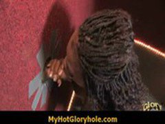 Ebony girl get initiated in the art of gloryhole blowjob 11