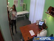 Hot teen brunette pussy licked and fucked on examining table by fake doctor