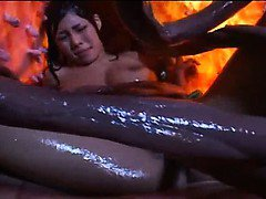 Sexy asian bitch gets fucking by huge tentacles
