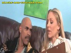 Blonde MILF Plays With Black Studs Cock