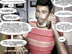 Young Twink Guy vs Shemale Rock Diva Funny 3D Gay Cartoon Comics