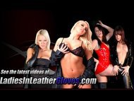 Lesbian babes enjoy the pleasure of each other with leather