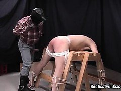 Inoccent sexy guy gets tied, then ass spanked and fucked