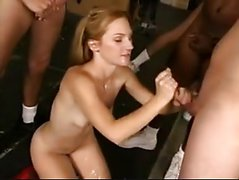 Blonde Sucks Off 10guys At Pornoxo