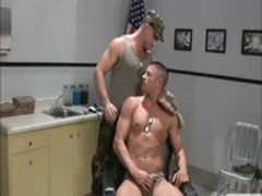 Gay soldiers play with eachothers genitals