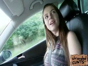 Teen Marina Visconti with her massive tits fucked on car