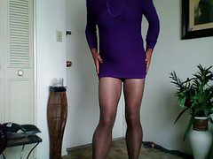 hosed harlot in purple dress