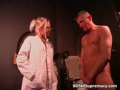 Blonde doctor inserts big toys