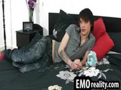 Horny teen emo twink lays in his bed horny and watches his body