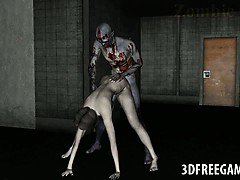 Sexy 3D zombie babe getting licked and fucked hard