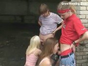 Two Russian girls and two guys outdoor