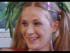 Redhead Freckled Teen Allison In Pigtails