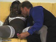 Ebony Get Dildo Fucked by White Man