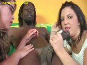 Two sexy Babes Suck Big Black Cock