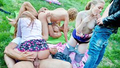 Naughty student sex friends fuck in the park