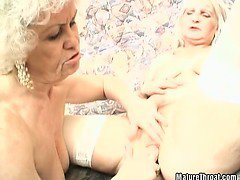 Horny grandma can't stop with pussy licking and dildoing of