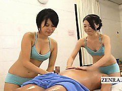 Subtitled CFNM Japanese soapy spa massage with handjob