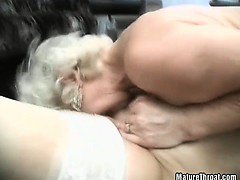Nice and hard cock got licked by old nasty grandma tongues