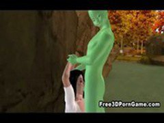 Foxy 3D cartoon brunette fucked by a green alien