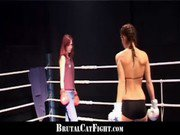 Cat fight and hard blowjob in the boxing ring