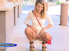 Lauren _ Cute amateur blonde flashing in public
