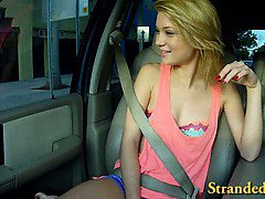 Perky tits blonde teen girl fucked with dude in a car