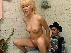 Hot and nasty ripe blonde whore with tight body gets horny