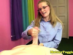 Blonde spex milf wanking his hard cock