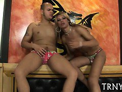 Busty attractive tranny playgirl gets wild