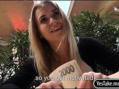 Real amateur blonde Czech girl Violette Pink ripped for cash
