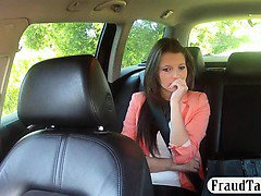 Pretty amateur brunette girl nailed by fake driver