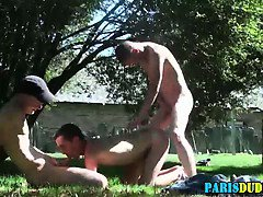Gay euro threesome cum outdoors
