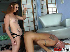 Nasty mistress drills ass with a strapon