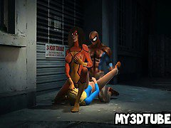 Two hot 3D cartoon babes getting fucked by Spiderman
