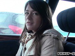 Amateur brunette Eurobabe Anastasia railed inside the car